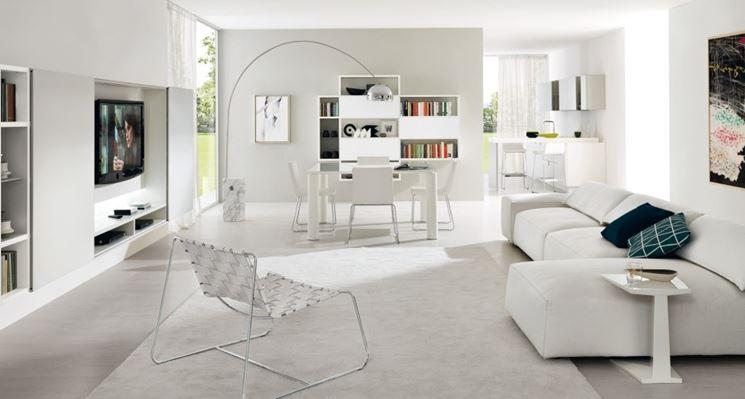 Soggiorno total white arredamento casa arredare il for Arredamento casa bianco