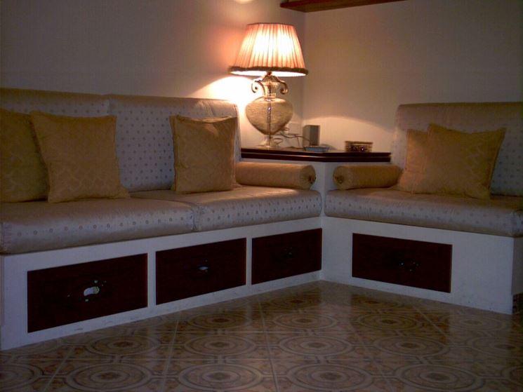 Divani in muratura divano for Cuscini per panca ad angolo