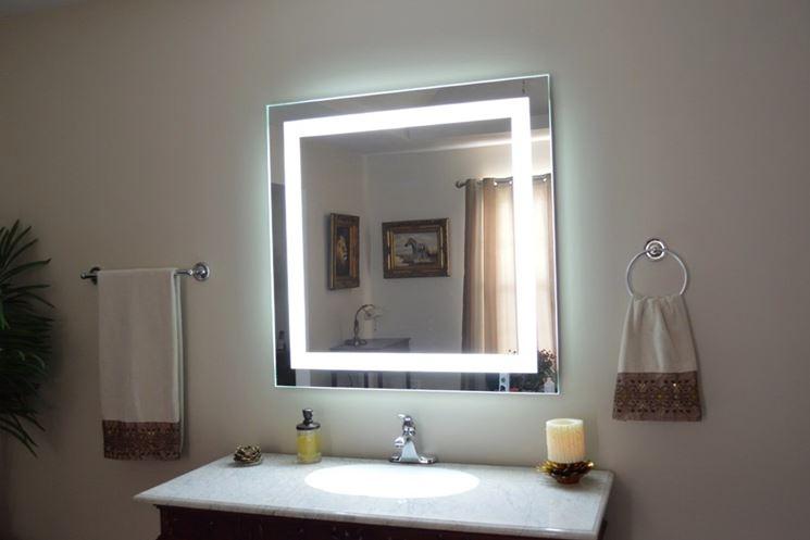 specchio con luce led