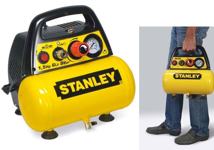 Un compressore portatile Stanley con serbatoio orizzontale