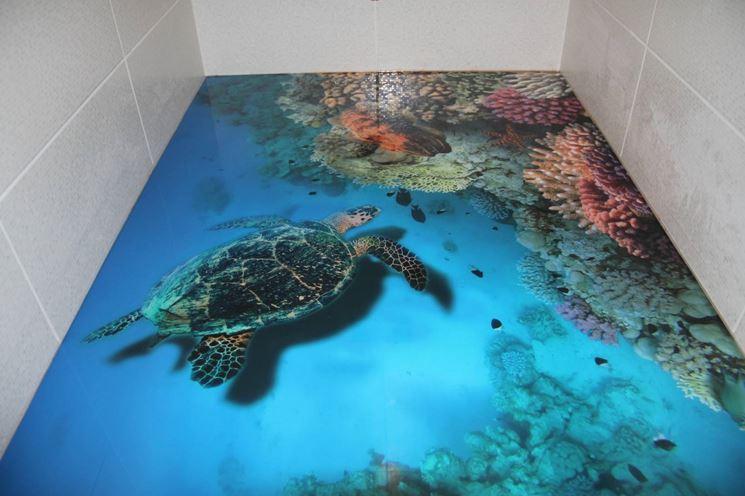 Pavimento 3D in resina per bagno