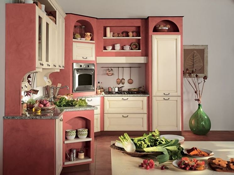 cucina in muratura colorata