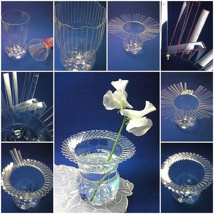 vaso con bottiglia in plastica