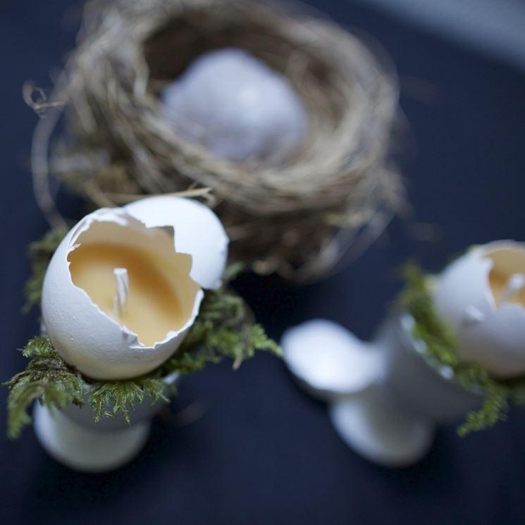 candele con gusci d'uovo