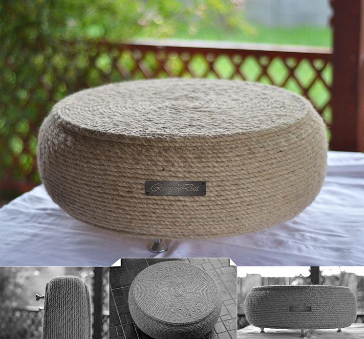 tavolino realizzato con pneumatico e corda