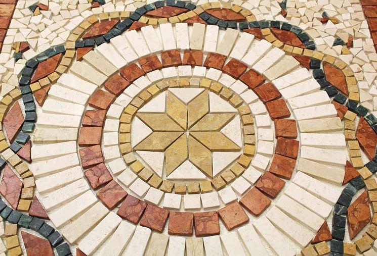 rosone per pavimento in mosaico