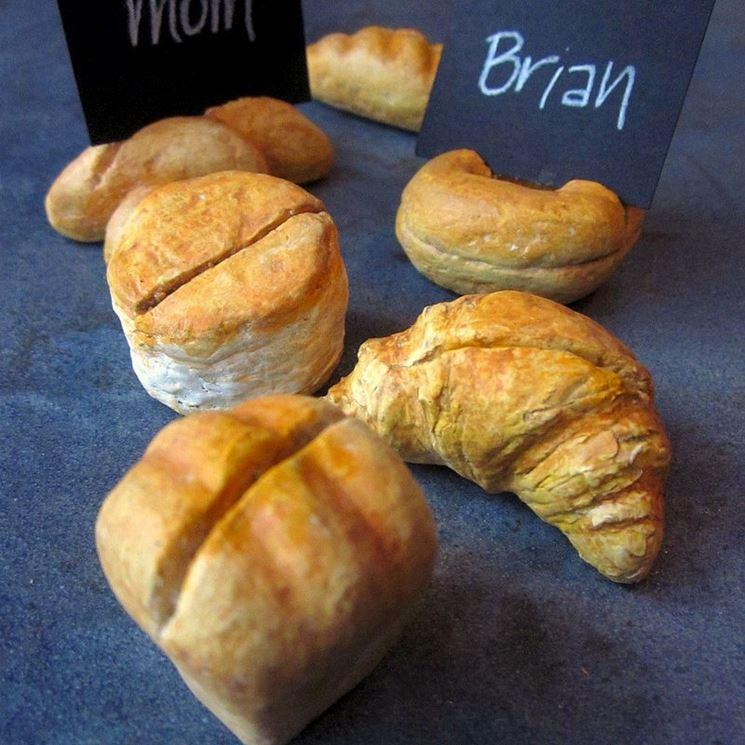 segnaposto con bocconcini di pane