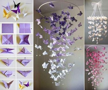 lampadario fai da te con farfalle