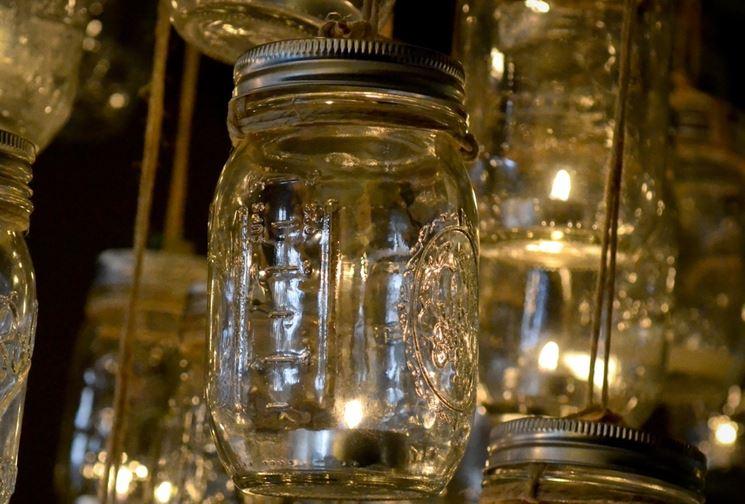 lampadario fai da te con barattoli vetro