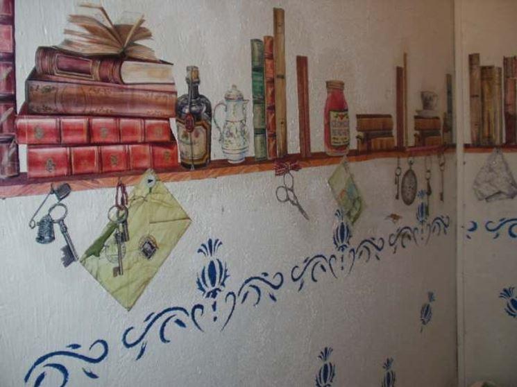 Декупаж стен на кухне