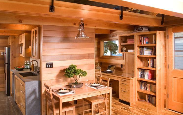 cucina con perline di legno