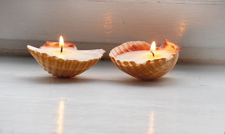 candele in conchiglie