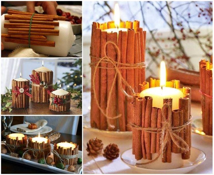 candele decorate con cannella