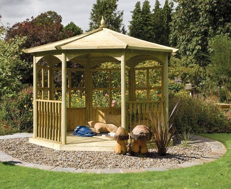 gazebo in legno - arredamento giardino - Gazebo In Legno Da Giardino Usato