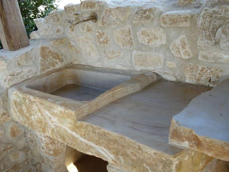 Lavabi da esterno arredamento giardino scegliere il - Lavandino in pietra per esterno ...