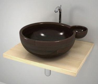 lavabo da appoggio marrone