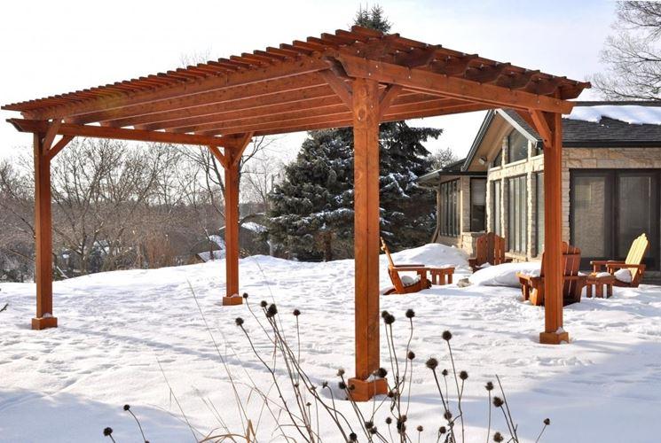 Terrazza con pergolato in legno