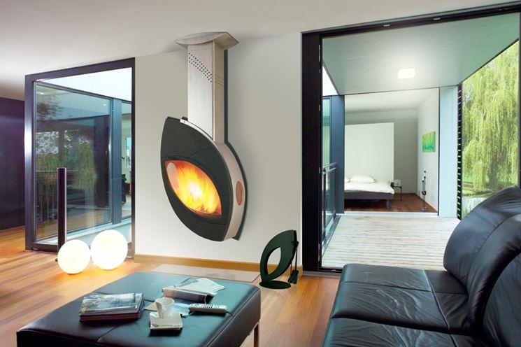Caminetto moderno a parete