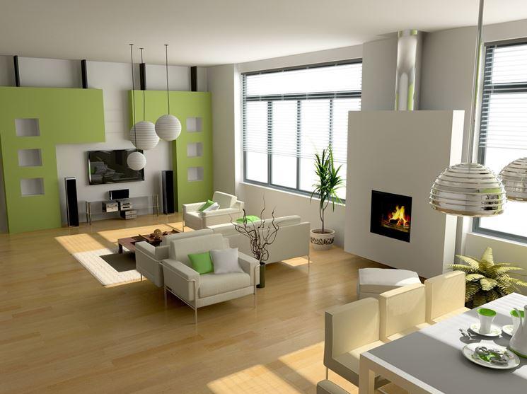 Camino tra soggiorno e cucina riscaldamento casa for Living con camino