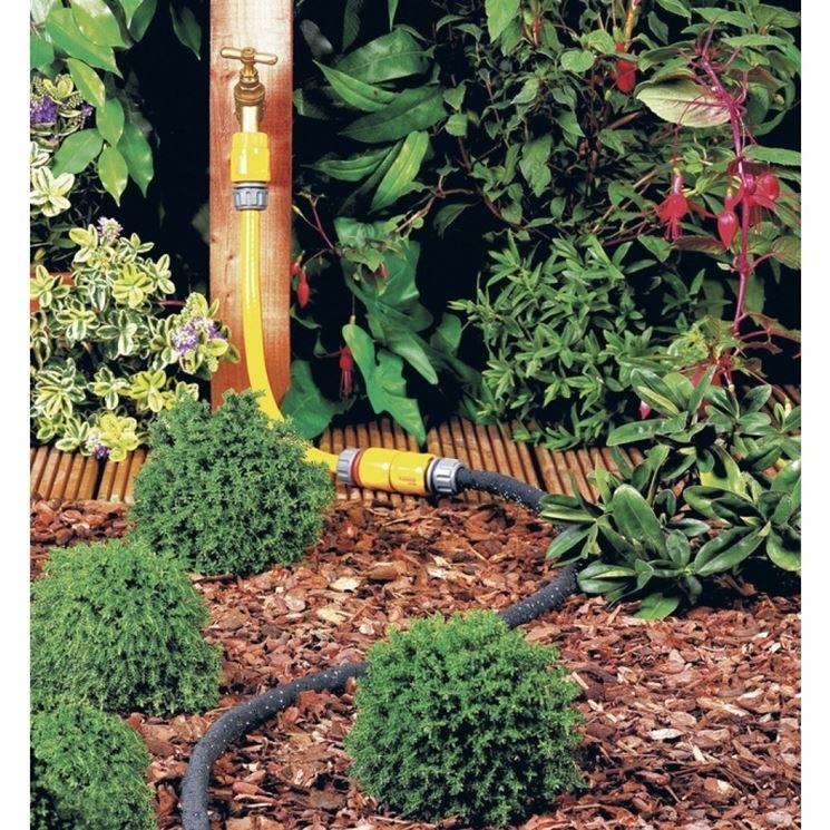 impianto di irrigazione con tubo poroso