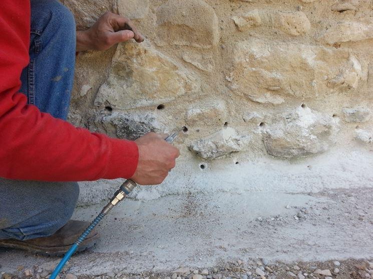 preparazione parete per barriera chimica all'umidità