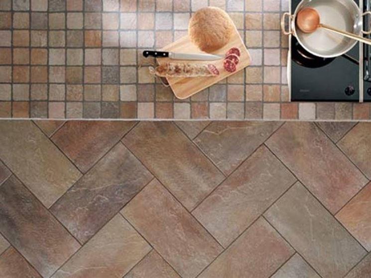 Pavimenti da cucina cucina rustica in legno con il pavimento in