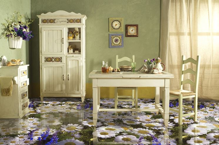 Pavimento in resina decorato