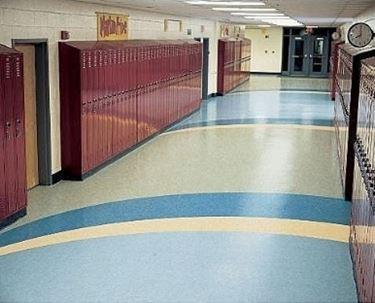 pavimento in linoleum blu