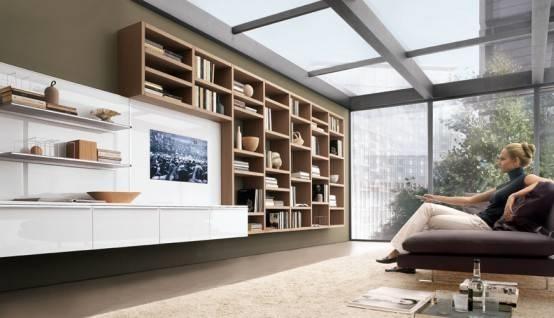 Soggiorno bianco con parete attrezzata classica martini mobili
