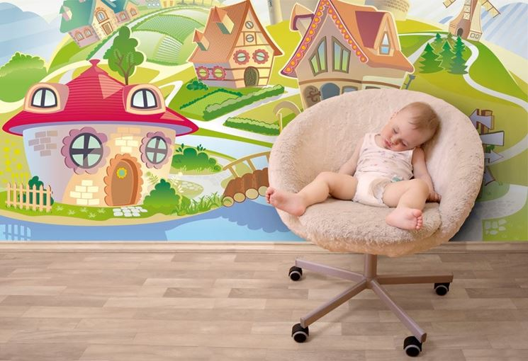 Rivestimenti e colori per i bambini pareti quali for Carta da parati particolare