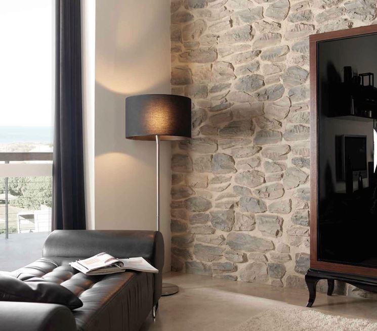 Rivestire una parete con la pietra pareti come for Mattonelle finte per cucina