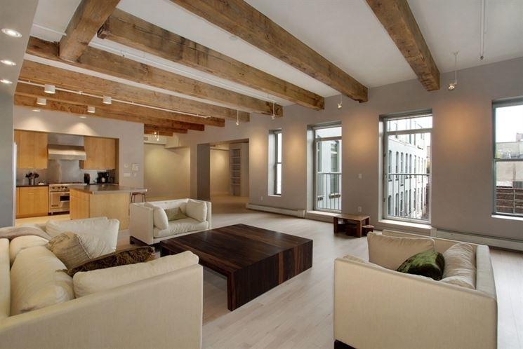 travi in legno in casa moderna